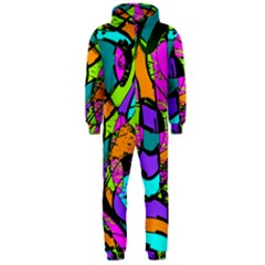 Abstract Art Squiggly Loops Multicolored Hooded Jumpsuit (men)  by EDDArt