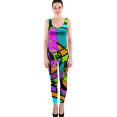 Abstract Art Squiggly Loops Multicolored Onepiece Catsuit by EDDArt