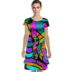 Abstract Art Squiggly Loops Multicolored Cap Sleeve Nightdress by EDDArt
