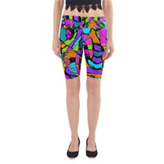 Abstract Art Squiggly Loops Multicolored Yoga Cropped Leggings by EDDArt