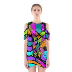 Abstract Art Squiggly Loops Multicolored Shoulder Cutout One Piece by EDDArt