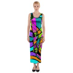 Abstract Art Squiggly Loops Multicolored Fitted Maxi Dress by EDDArt