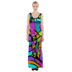 Abstract Art Squiggly Loops Multicolored Maxi Thigh Split Dress by EDDArt