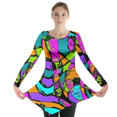 Abstract Art Squiggly Loops Multicolored Long Sleeve Tunic  by EDDArt