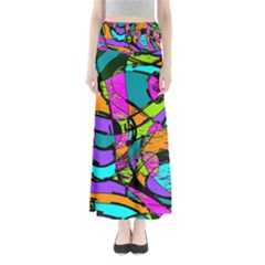 Abstract Art Squiggly Loops Multicolored Maxi Skirts by EDDArt
