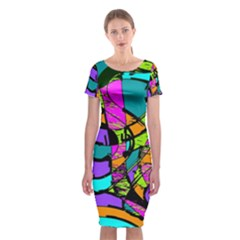 Abstract Art Squiggly Loops Multicolored Classic Short Sleeve Midi Dress by EDDArt