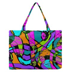 Abstract Art Squiggly Loops Multicolored Medium Zipper Tote Bag by EDDArt