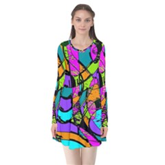 Abstract Art Squiggly Loops Multicolored Flare Dress by EDDArt