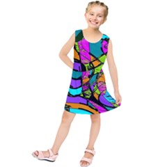 Abstract Art Squiggly Loops Multicolored Kids  Tunic Dress by EDDArt