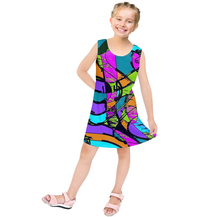 Abstract Art Squiggly Loops Multicolored Kids  Tunic Dress