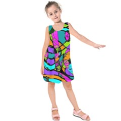 Abstract Art Squiggly Loops Multicolored Kids  Sleeveless Dress by EDDArt