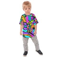 Abstract Art Squiggly Loops Multicolored Kids  Raglan Tee