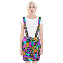 Abstract Art Squiggly Loops Multicolored Suspender Skirt by EDDArt