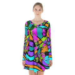 Abstract Art Squiggly Loops Multicolored Long Sleeve Velvet V Neck Dress by EDDArt