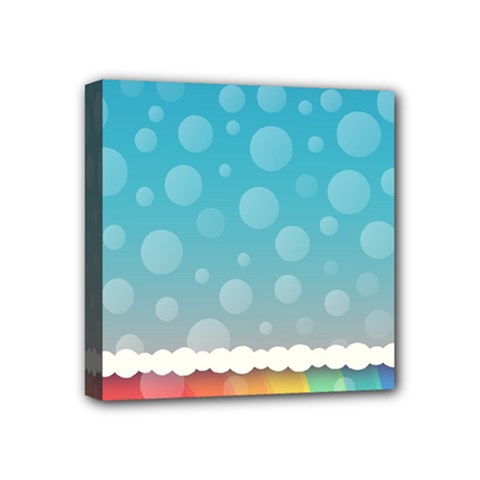 Rainbow Background Border Colorful Mini Canvas 4  X 4