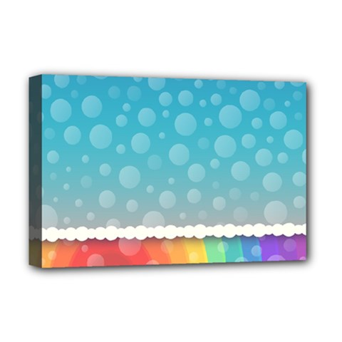 Rainbow Background Border Colorful Deluxe Canvas 18  X 12   by Amaryn4rt