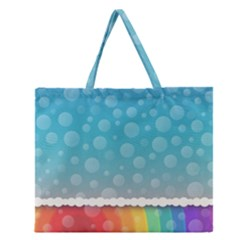 Rainbow Background Border Colorful Zipper Large Tote Bag by Amaryn4rt
