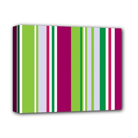 Beautiful Multi Colored Bright Stripes Pattern Wallpaper Background Deluxe Canvas 14  X 11  by Amaryn4rt