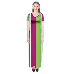 Beautiful Multi Colored Bright Stripes Pattern Wallpaper Background Short Sleeve Maxi Dress by Amaryn4rt