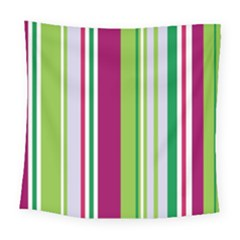 Beautiful Multi Colored Bright Stripes Pattern Wallpaper Background Square Tapestry (large) by Amaryn4rt