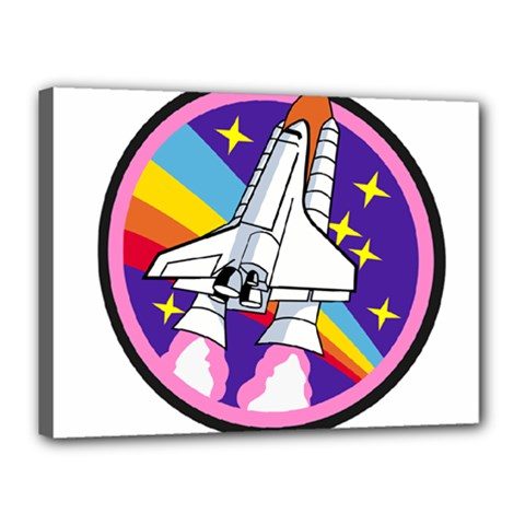 Badge Patch Pink Rainbow Rocket Canvas 16  X 12  by Amaryn4rt