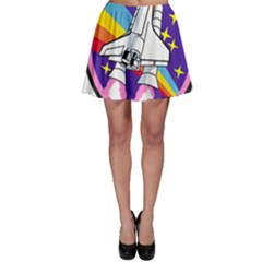 Badge Patch Pink Rainbow Rocket Skater Skirt