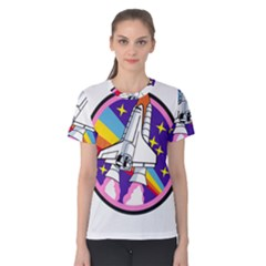 Badge Patch Pink Rainbow Rocket Women s Cotton Tee by Amaryn4rt