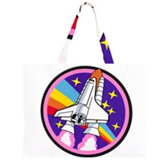 Badge Patch Pink Rainbow Rocket Zipper Large Tote Bag by Amaryn4rt