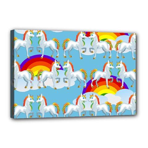 Rainbow Pony  Canvas 18  X 12  by Valentinaart
