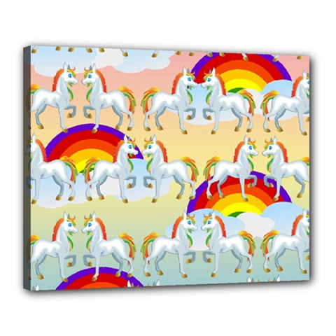 Rainbow Pony  Canvas 20  X 16  by Valentinaart