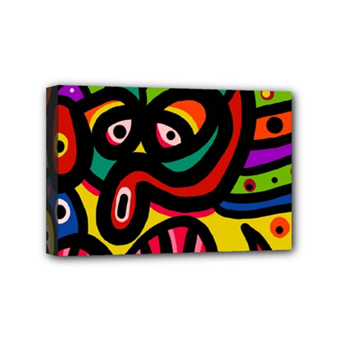 A Seamless Crazy Face Doodle Pattern Mini Canvas 6  X 4  by Amaryn4rt