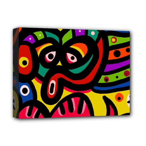 A Seamless Crazy Face Doodle Pattern Deluxe Canvas 16  X 12   by Amaryn4rt