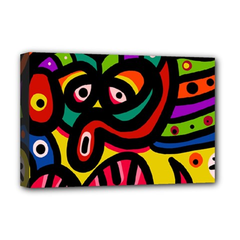 A Seamless Crazy Face Doodle Pattern Deluxe Canvas 18  X 12   by Amaryn4rt