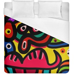A Seamless Crazy Face Doodle Pattern Duvet Cover (king Size)