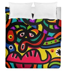 A Seamless Crazy Face Doodle Pattern Duvet Cover Double Side (queen Size) by Amaryn4rt