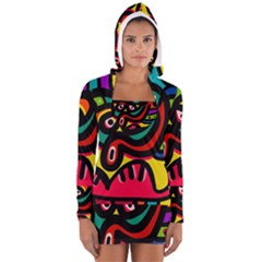 A Seamless Crazy Face Doodle Pattern Women s Long Sleeve Hooded T Shirt by Amaryn4rt