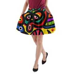 A Seamless Crazy Face Doodle Pattern A Line Pocket Skirt by Amaryn4rt