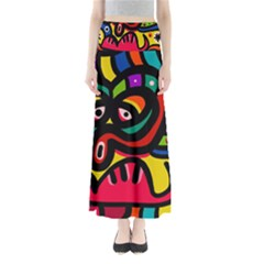 A Seamless Crazy Face Doodle Pattern Maxi Skirts by Amaryn4rt