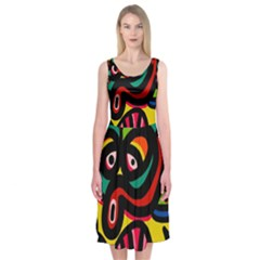 A Seamless Crazy Face Doodle Pattern Midi Sleeveless Dress by Amaryn4rt