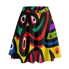 A Seamless Crazy Face Doodle Pattern High Waist Skirt by Amaryn4rt