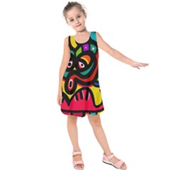 A Seamless Crazy Face Doodle Pattern Kids  Sleeveless Dress by Amaryn4rt