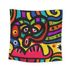 A Seamless Crazy Face Doodle Pattern Square Tapestry (small) by Amaryn4rt