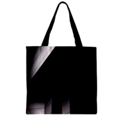 Wall White Black Abstract Zipper Grocery Tote Bag by Amaryn4rt