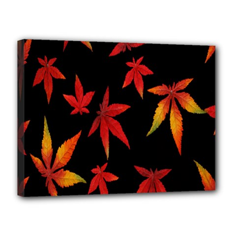 Colorful Autumn Leaves On Black Background Canvas 16  X 12  by Amaryn4rt