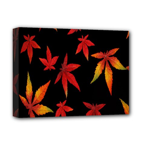 Colorful Autumn Leaves On Black Background Deluxe Canvas 16  X 12   by Amaryn4rt
