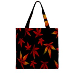 Colorful Autumn Leaves On Black Background Zipper Grocery Tote Bag by Amaryn4rt