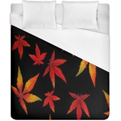 Colorful Autumn Leaves On Black Background Duvet Cover (california King Size) by Amaryn4rt