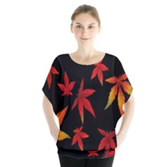 Colorful Autumn Leaves On Black Background Blouse by Amaryn4rt