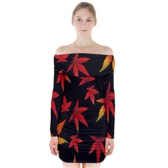 Colorful Autumn Leaves On Black Background Long Sleeve Off Shoulder Dress by Amaryn4rt