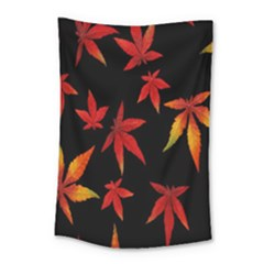 Colorful Autumn Leaves On Black Background Small Tapestry by Amaryn4rt